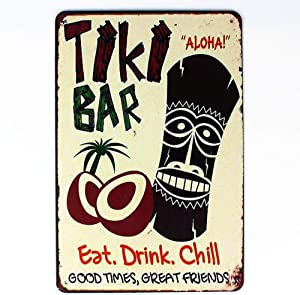 ERLOOD Tiki Bar Eat Drink Good Times Great Friends Retro Vintage Metal Tin Sign Wall Art Pub Decor 12 X 8