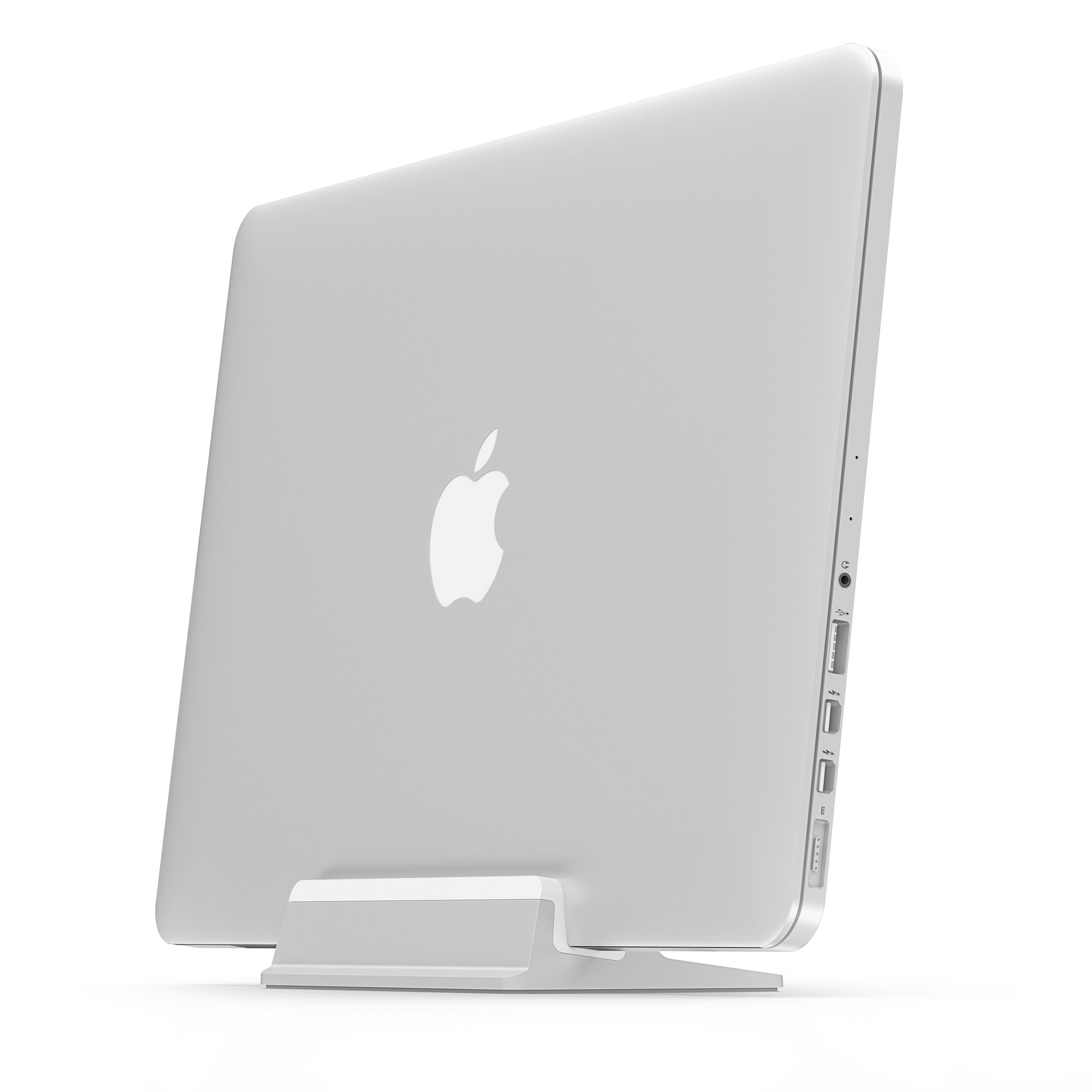 UPPERCASE KRADL Pro Small Profile Aluminum Vertical Stand for Retina MacBook Pro 13'' or 15'' (2012 to 2015 Releases), Silver/White