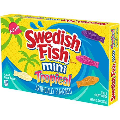 Swedish Fish Mini Tropical Fat Free Candy Theater Box (Pack of 12) -