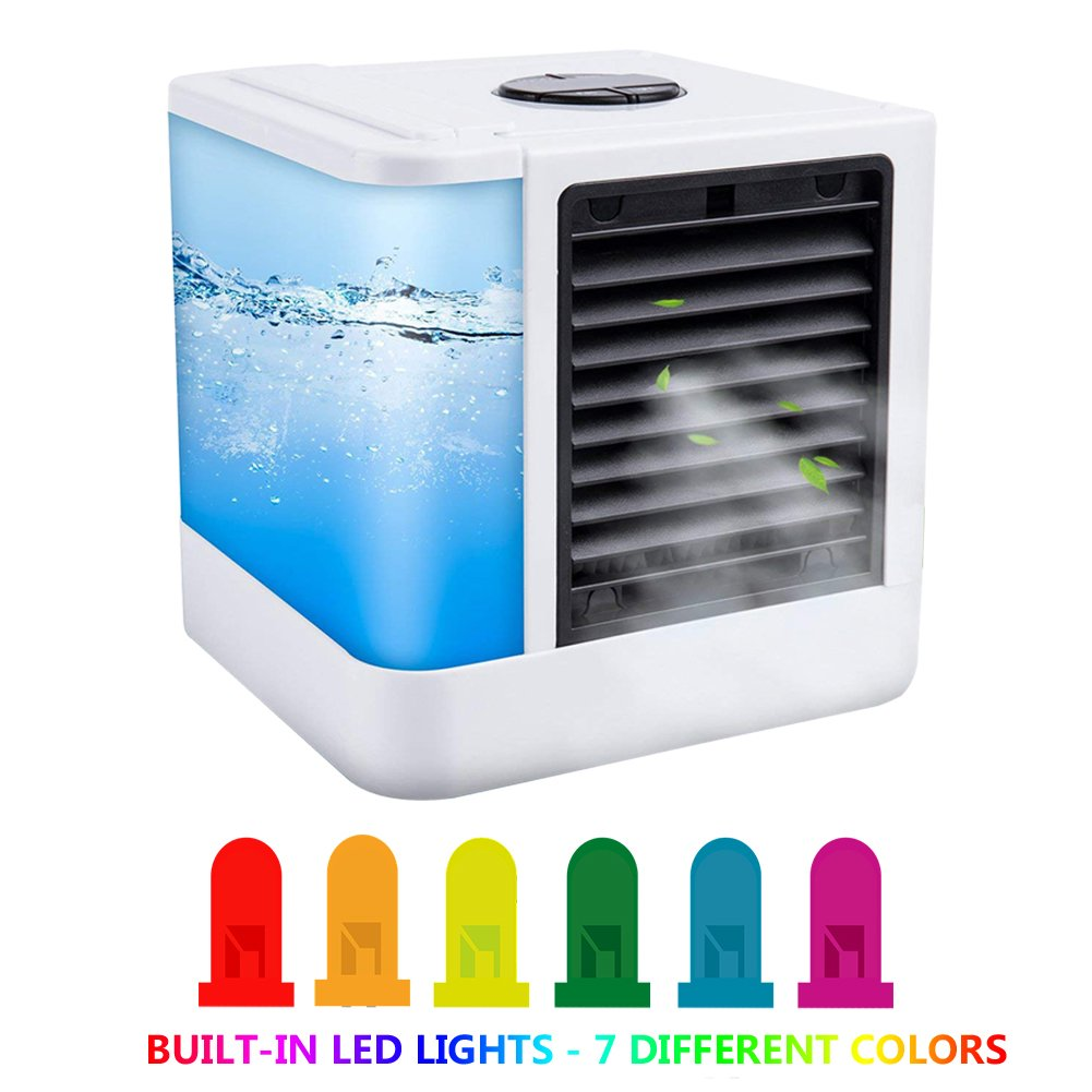 AimdonR Mini climatiseur mobile /Air Cooler/7 Visage de lumières/Rafraichisseur d'air/portable Air conditionné/Air Cool/8 heures d'autonomie/LED Display