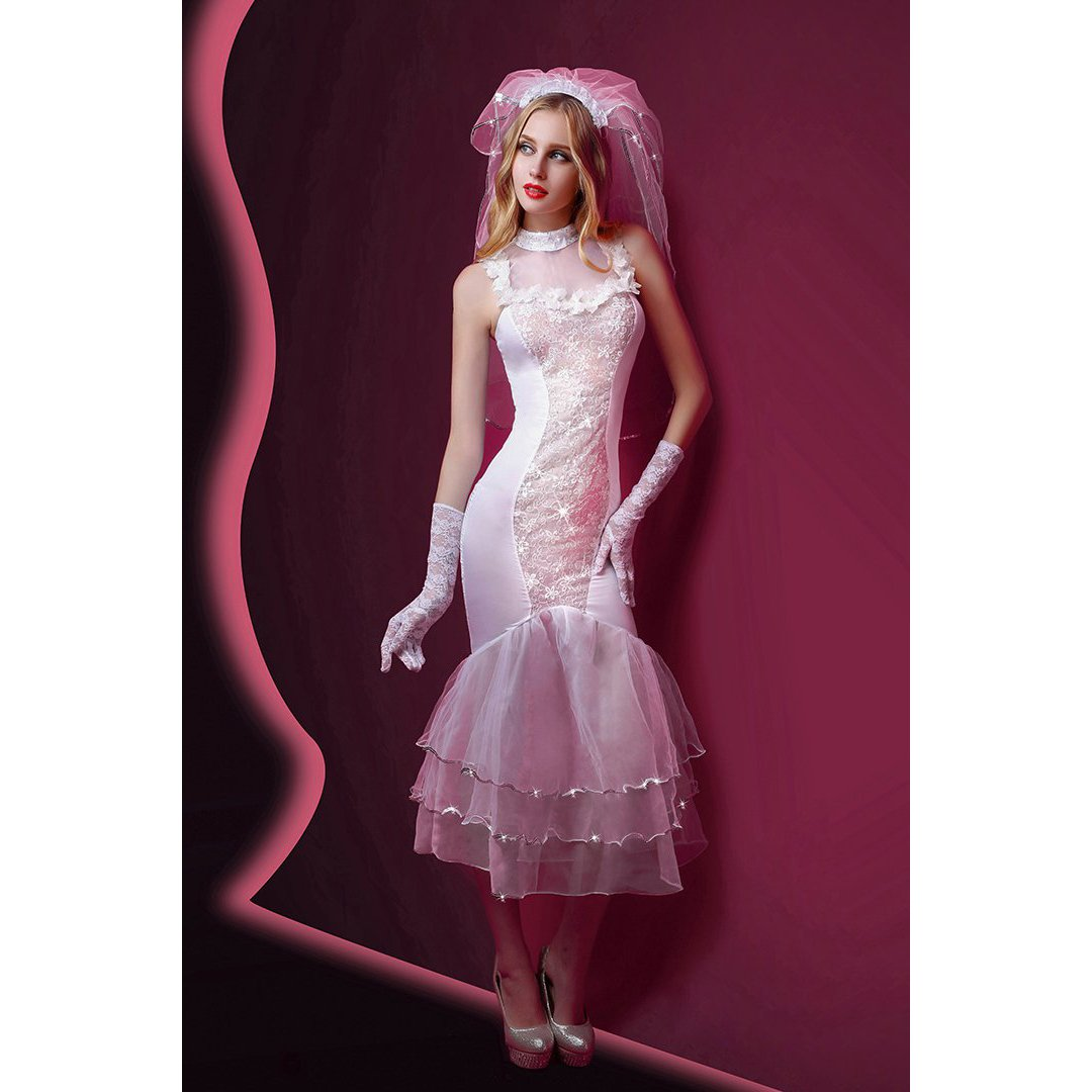 Superex 4pcs Sexy Bridal Wedding Dress Costume Outfit Lace High Low Hem Dovetail Lingerie Fancy Dress with Veil (White)