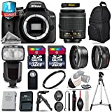 Holiday Saving Bundle for D3400 DSLR Camera + 18-55mm VR Lens + 0.43X Wide Angle Lens + 2.2x Telephoto Lens + 64GB Storage + Flash with LCD Display + UV Filter - International Version