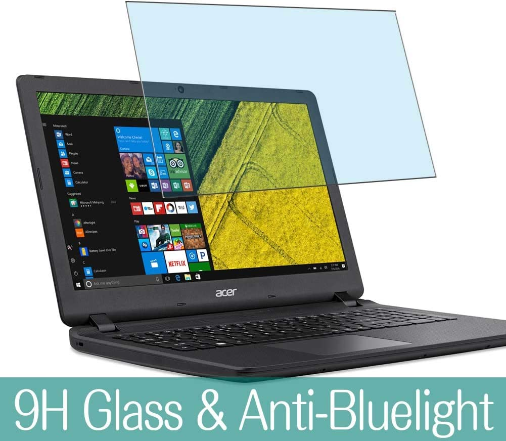 """Synvy Anti Blue Light Tempered Glass Screen Protector for Acer Aspire ES1-523 / ES1-524 / ES1-531 / ES1-532g 15.6"""" Visible Area 9H Protective Screen Film Protectors (Not Full Coverage)"""