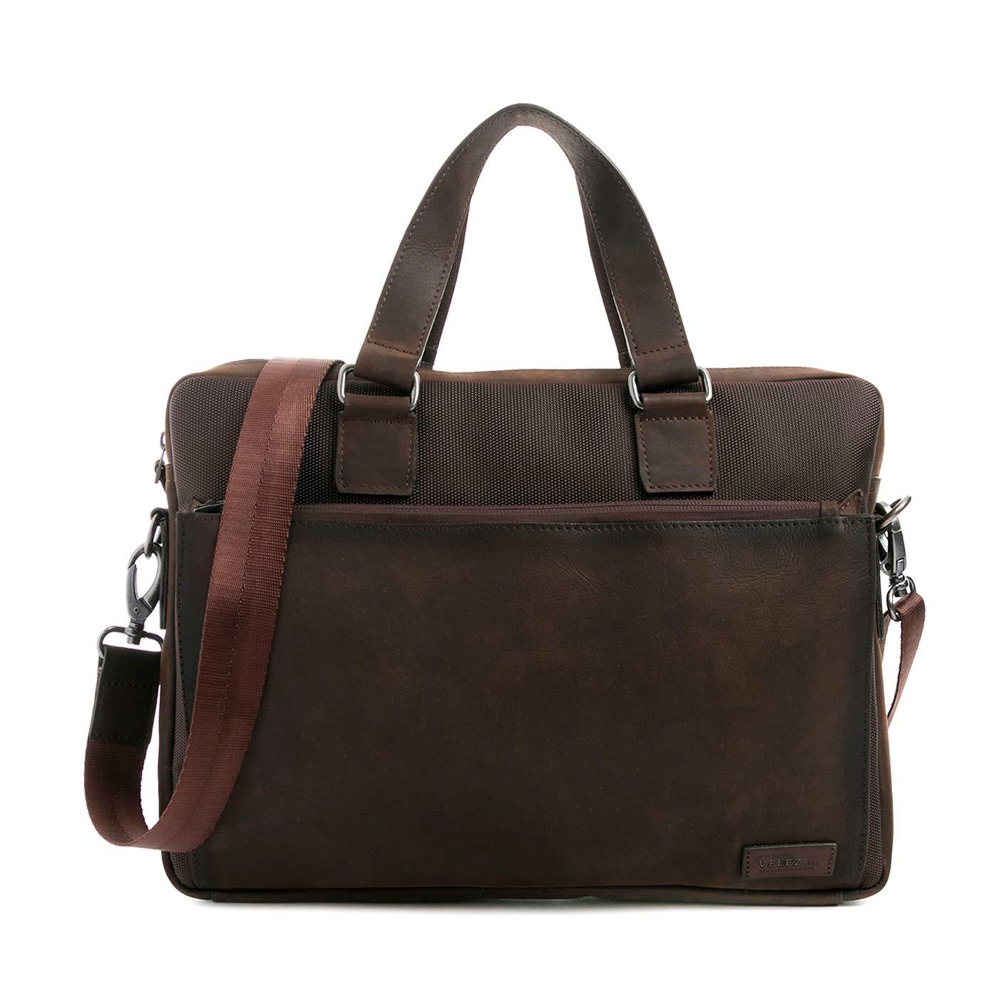 Velez Mens Genuine Colombian Leather Business Travel Laptop Bag | Maletin y Bolso de Cuero Colombiano para Hombres Brown