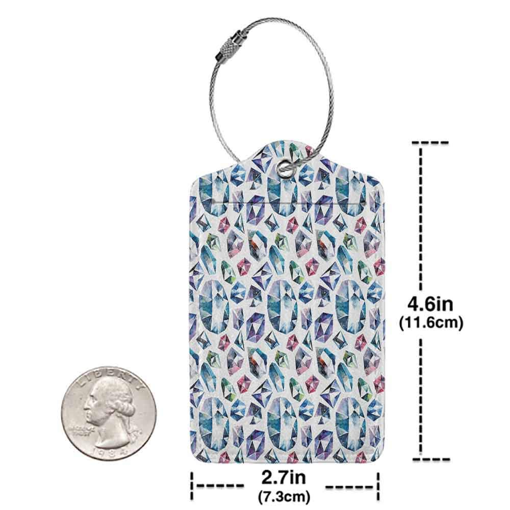 Decorative luggage tag Diamond Decor Small Larges Watercolor Style Shaded Diamond Crystal Stones Zircon Wealth Bridal Theme Image Suitable for travel Multi W2.7 x L4.6