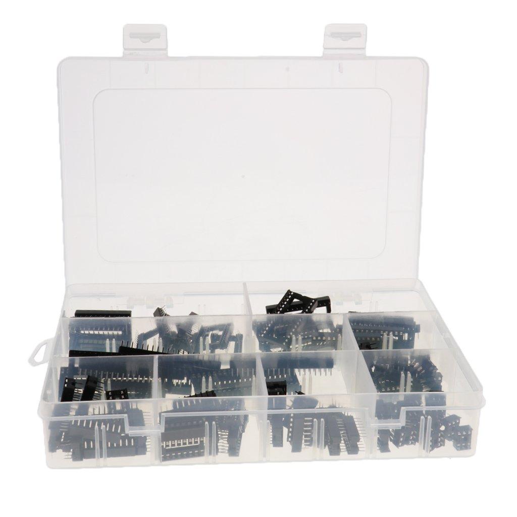 Dolity 100 Pieces IC Sockets Low Profile DIP 6Pin 8P 14P 16P 18P 24P 28P 40Pin