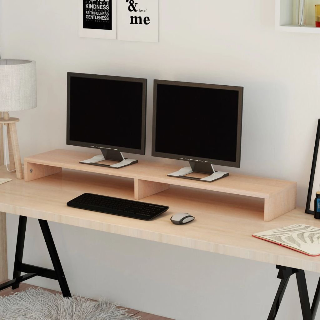 vidaXL Supporto Monitor in Truciolato 60x23,5x12 cm Bianco Staffa Porta Pc TV