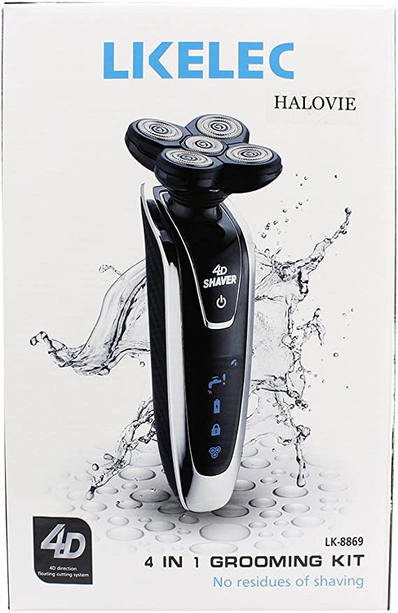 Afeitadora eléctrica, Halovie 4D flotante recargable máquina de ...