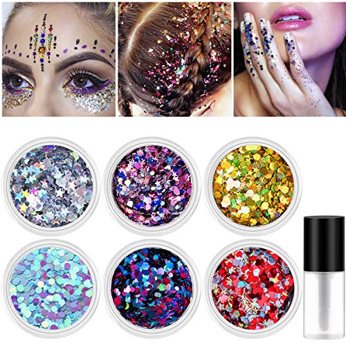 - Body Glitter, NICEAUTY 6 Colors Face Glitter for Body Hair Face and Nail, Holographic Chunky Cosmetic Glitter with 1pcs Long Lasting Safe Non Toxic Fix Gel
