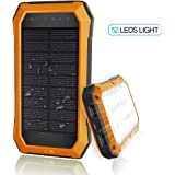 Solar Charger with Strong LED Flashlight, 10000mAh Solar Phone Charger with Dual USB Port, Outdoor Solar Power Bank Built-in 52LED Flashlight for Camping, Travelling and other Activities Orange