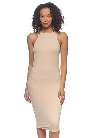 Amazon.com  2LUV Women s Body-Con Sleeveless Midi Tank Dress  Clothing 1b499533c2