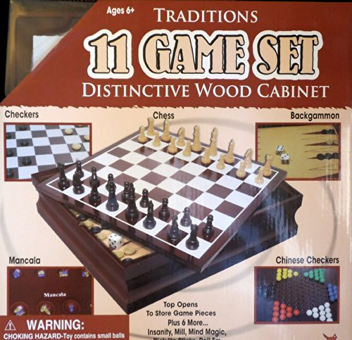 11 Classic Game Set in Wood Cabinet, Chess, Backgammon, Mancala and More