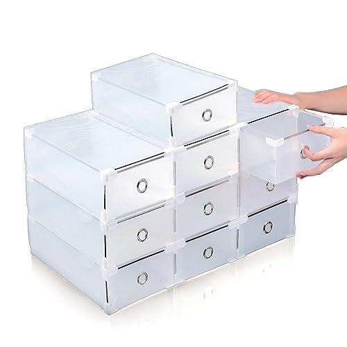 10 piezas plástico transparente de Acelectronic, caja de zapatos apilables plegable, organizador de cajón para las mujeres/hombres tamaños disponibles, ...