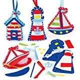 Seaside Felt Decoration Sewing Kits 3 Assorted Complete Sets with Instructions, for Children to Sew & Display (Pack of 3)