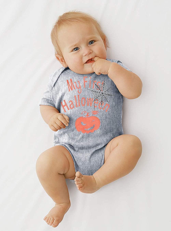 TUONROAD Baby Bodysuit First Halloween Onesies Pumpkin Romper Short Sleeve Playsuit for Girl Boy 0-12Months