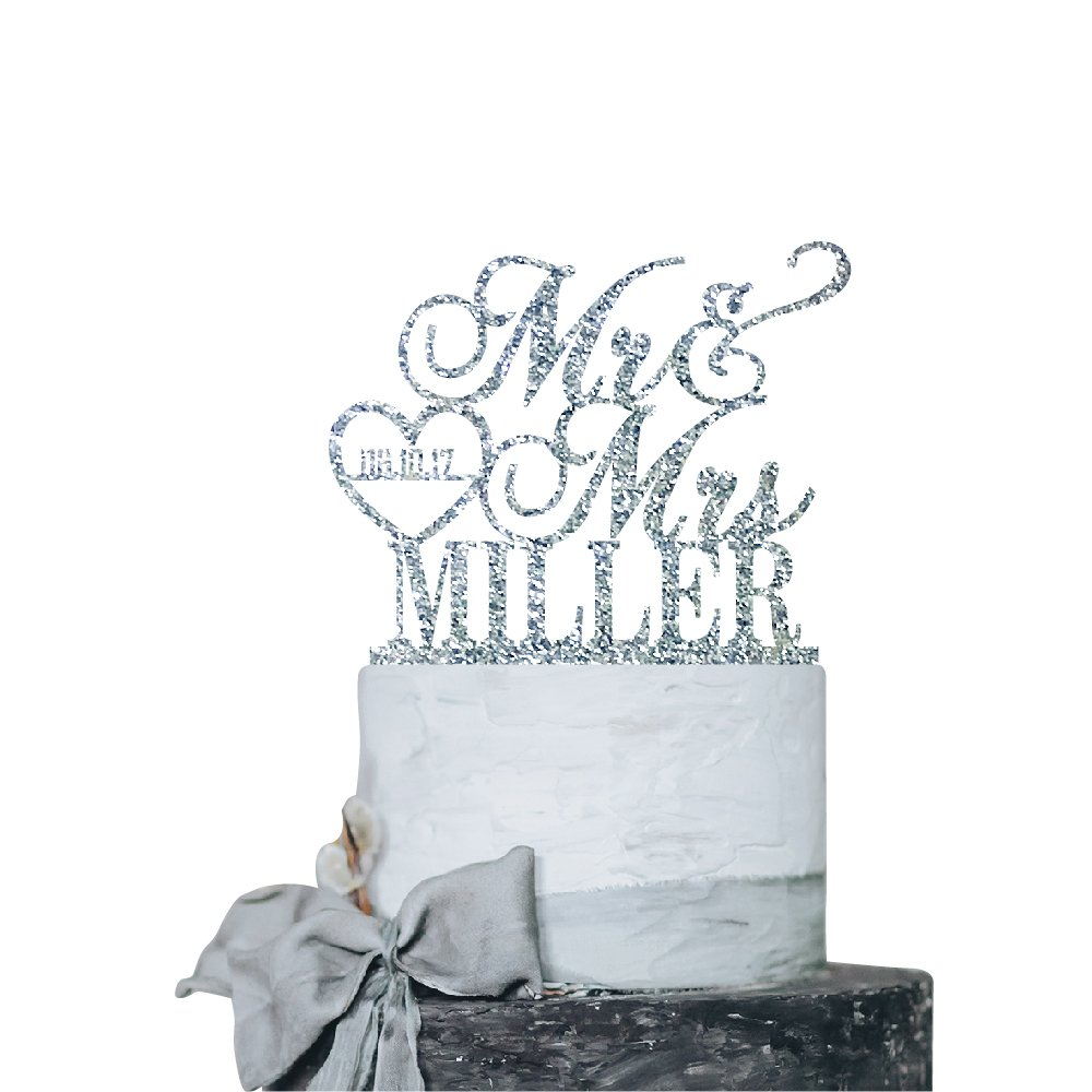 P Lab Personalized Cake Topper Mr. Mrs. Last Name Custom Date 2 Wedding Cake Topper Acrylic Decoration for Special Event Silver Glitter