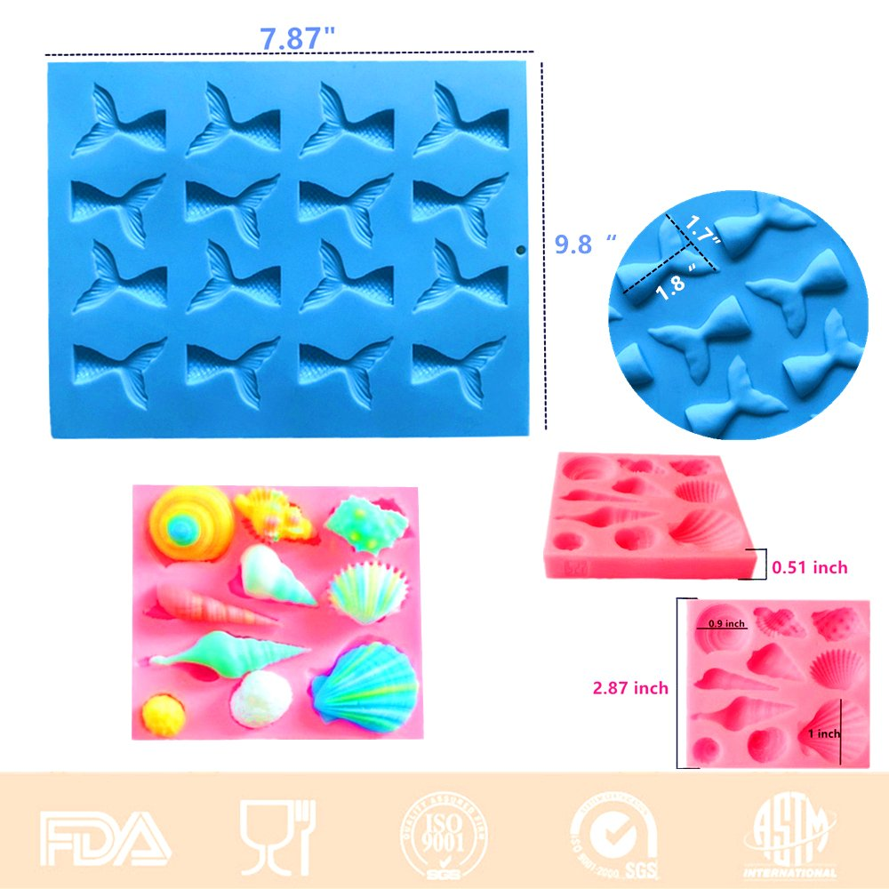 Set of 2 JeVenis Mermaid Series Tail Mermaid Silicone Fondant Mold for Cake Decoration Chocolate Candy Mold Soap Mold Baking Tool Jello Mold Cupcake Topper Ice Tray by JeVenis (Image #4)