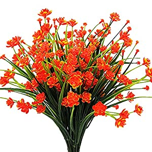 AITISOR Artificial Flowers Fake Outdoor Plants Faux UV Resistant Flower Plastic Shrubs Indoor Outside Hanging Decorations (Orange) 17