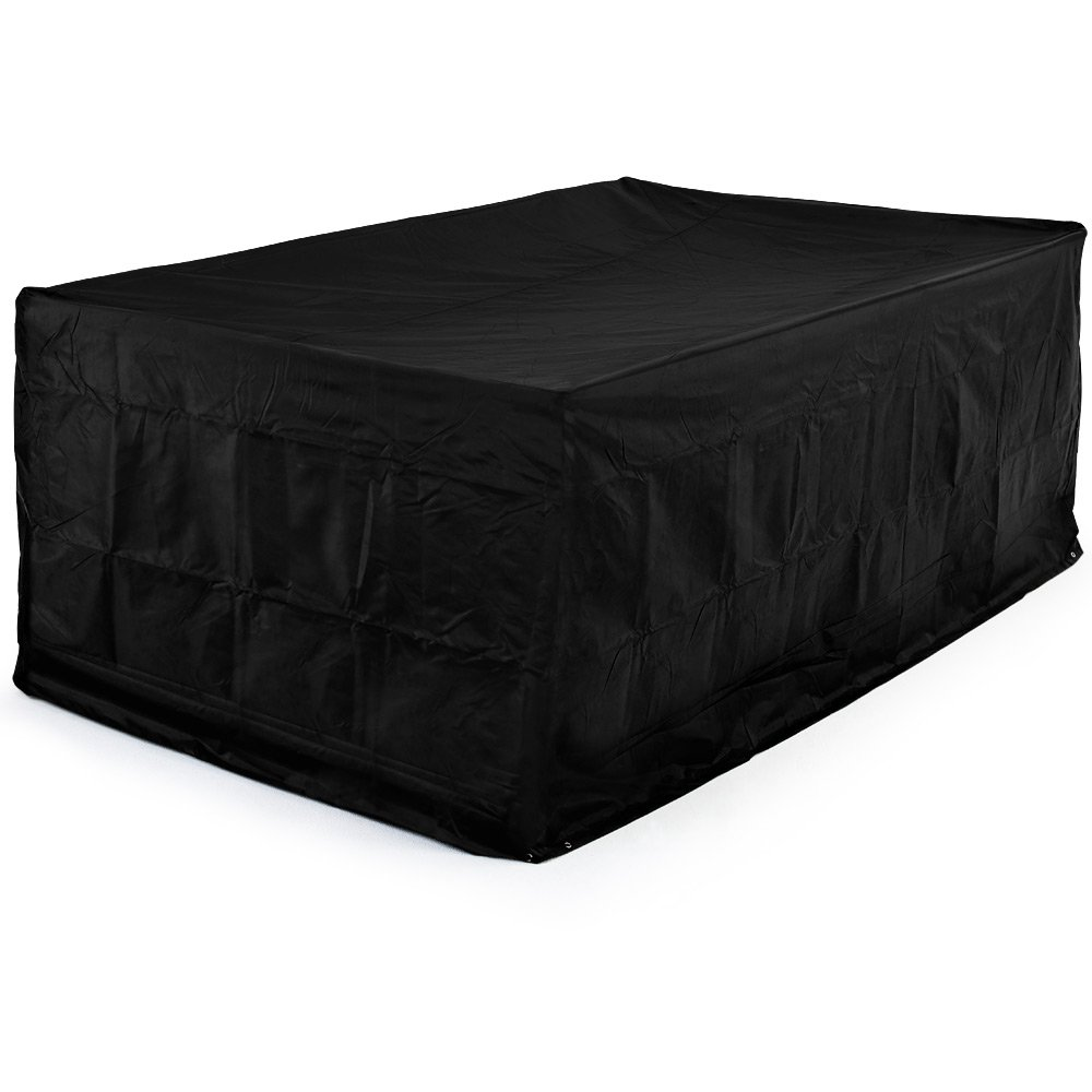 420 D Oxford Textile Rectangular Garden Furniture Cover For Table and Chair Set Outdoor Patio Weather Protection - 122 x 112 x 98cm black Deuba