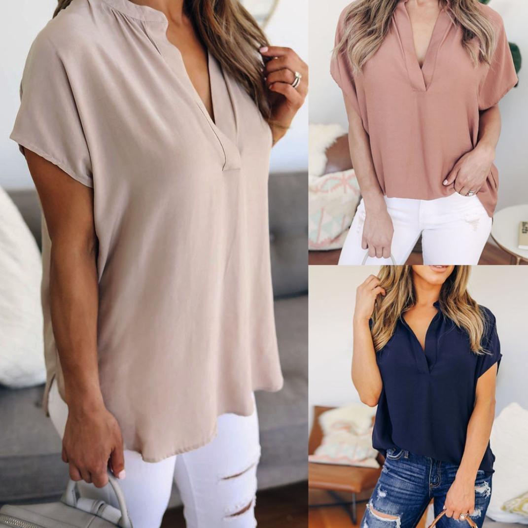 Camisas de Mujer Verano Gasa Manga Corta Casual Camisa Blusa 2018 ❤ Manadlian: Amazon.es: Ropa y accesorios