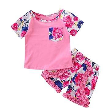 Feixiang Niños bebé niña Estampado Floral Camisa de Manga Corta + Pantalones Cortos de Flores Traje