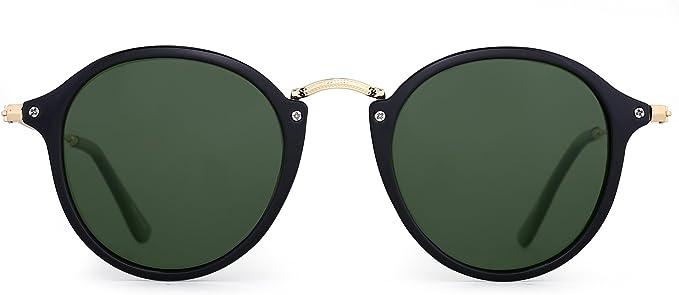 JIM HALO Gafas de Sol Polarizadas Retro Redondas Lentes de Espejo Pequeño Circulo Tintado Hombre Mujer
