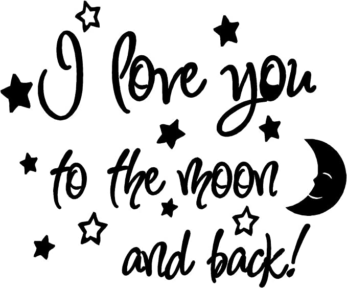 I Love You To The Moon And Back Again Cute Baby Nursery Wall Art