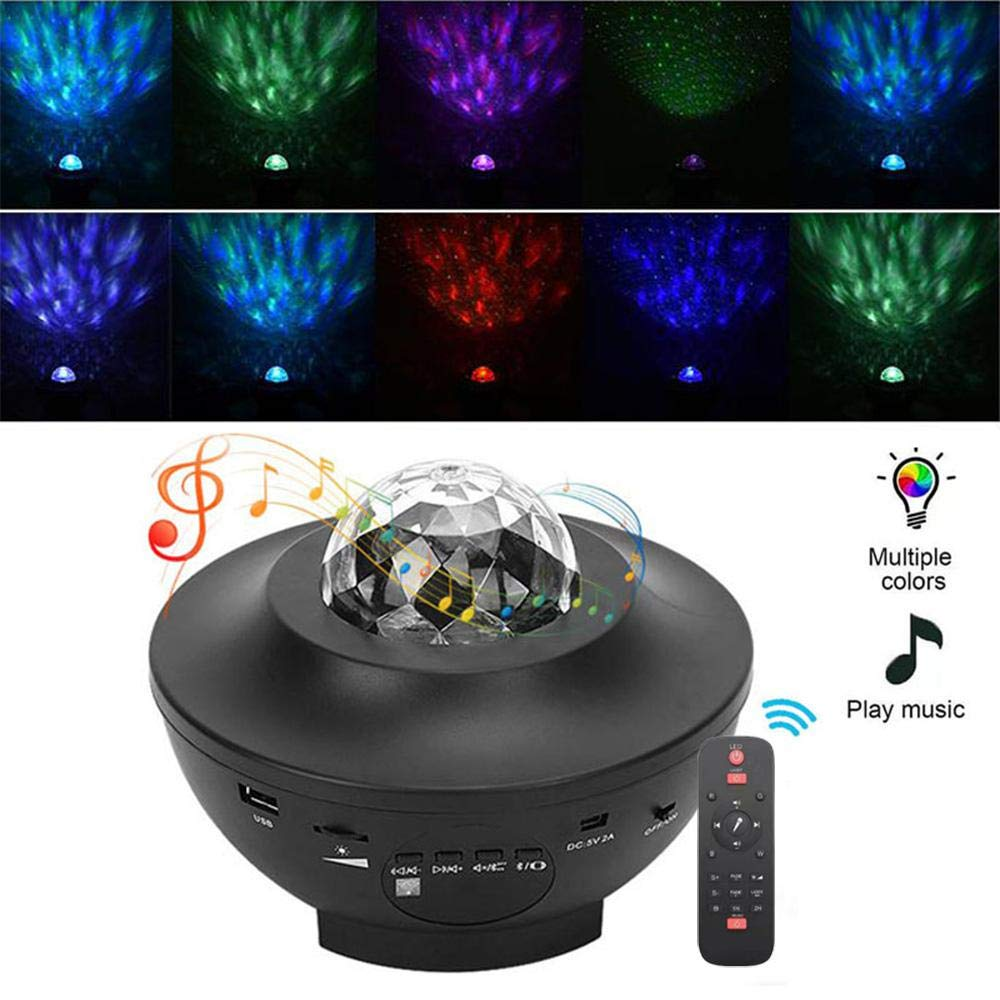 10 Farben 360/° Drehbares Licht f/ür Kinder Schlafzimmer Weihnachtsdekoration Projektor Lampe Ozean,Womdee Sternenlicht /& Wasserwellen-Welleneffekt Projektor mit Musik Lautsprecher Timer,Fernbedienung