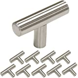 Single Hole Cabinet Pulls and Knobs 10 Pack-Homdiy HD201SN 2in 50mm Length T Bar Kitchen Cabinet Door Handles Brushed Stainless Steel