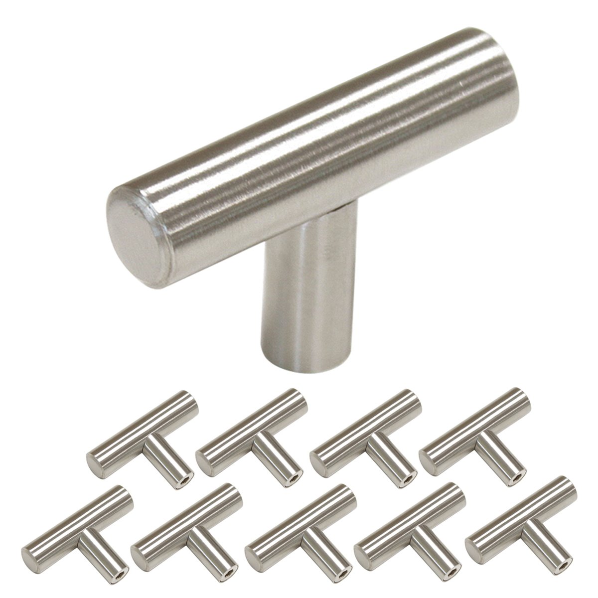 Single Hole Cabinet Pulls and Knobs 10 Pack Homdiy HD201SN 2in 50mm Length T Bar Kitchen Cabinet Door Handles Brushed Stainless Steel