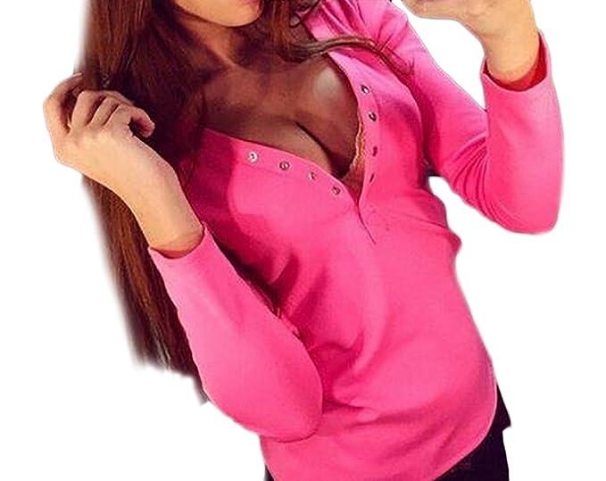 Mujer Camisetas Manga Larga Basicas Elegantes Tops Blusa Escotadas V Cuello con Botones Color Sólido Slim