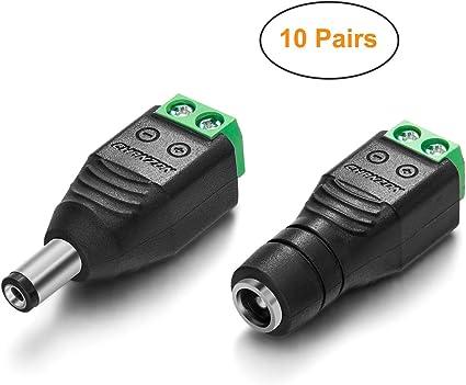 2.1mm x 5.5mm Male 10 Pair 20pcs Female DC Power Plug Socket Jack Connector