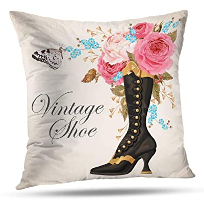Pakaku Throw Pillows Covers for Couch Indoor Bed 16 x 16 Inch,Steampunk Floral Butterfly Vintage Victorian Shoe Home Sofa Cushion Cover Pillowcase Gift Decorative Hidden Zipper Summer Beach Sunlight: Home & Kitchen