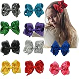 "CN 5"" Sequin Hair Bow, Boutique Baby Girls Grosgrain Ribbon Hair Bows With Alligator Clips For Baby Chlildren Teens Pack of 10"