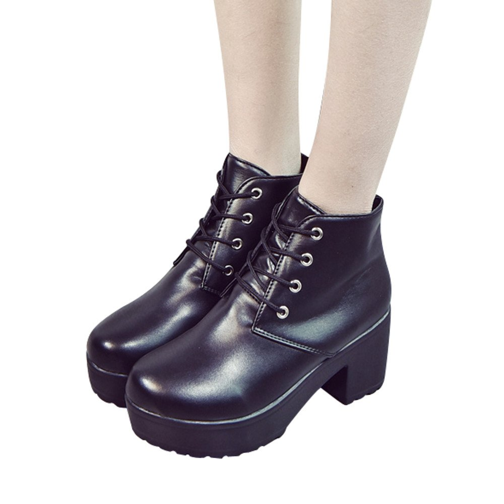 Boots For Womens -Clearance Sale ,Farjing Women's Ladies Shoes Fashion Ankle Flat Oxford Leather Casual Shoes Short Boots(US:5.5,Black)