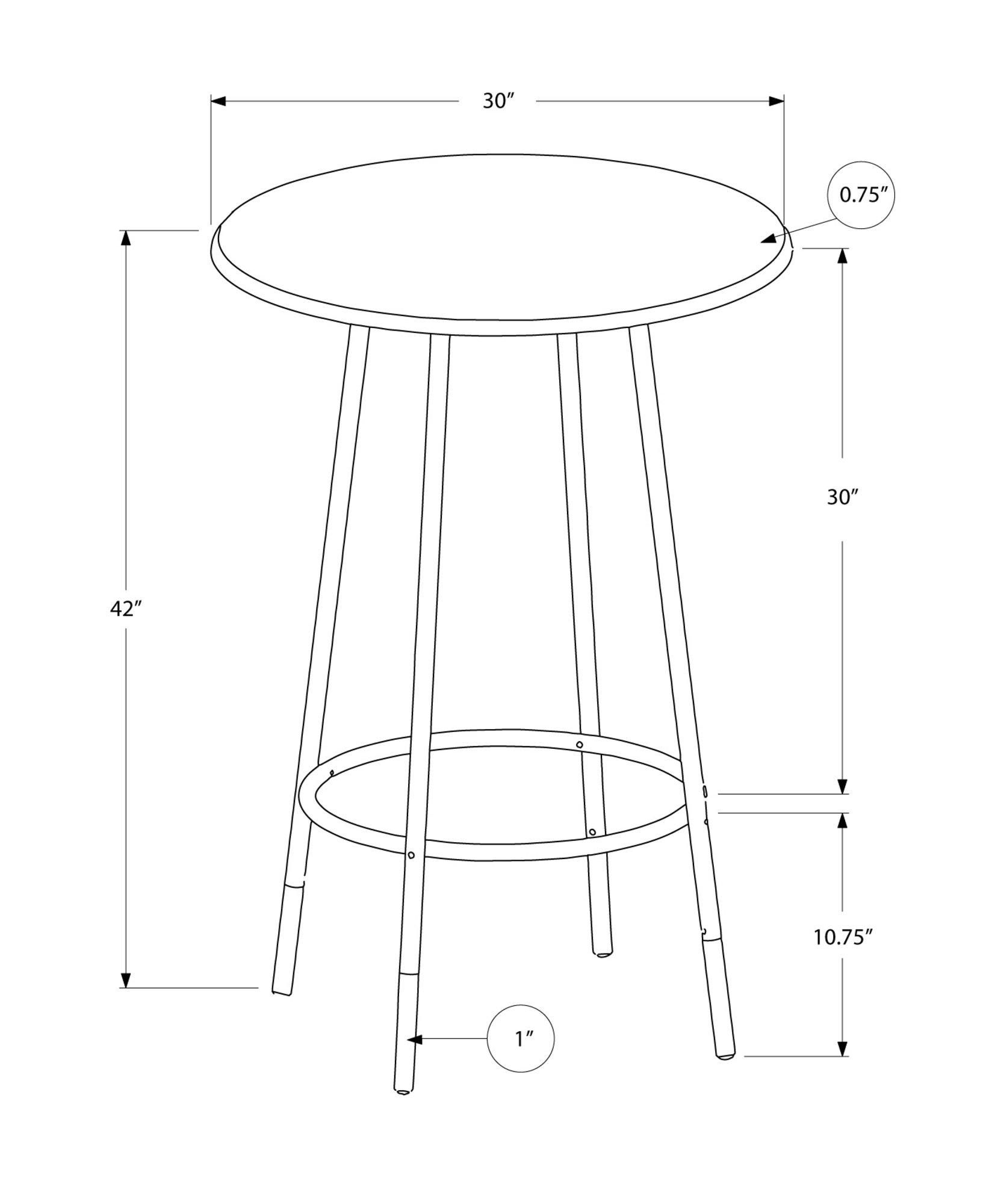 Monarch Specialties Metal Diameter Bar Table, 30-Inch, Cappuccino/Marble/Coffee
