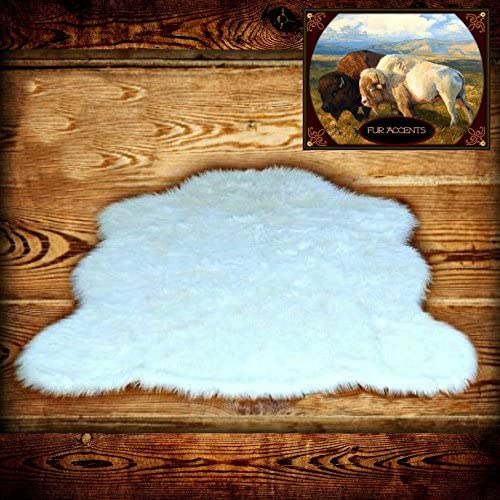 Plush Faux Fur Chubby Bear Skin Throw Rug – Shaggy – Shag – Soft – Bedroom – Nursery – Lining Room – Den – White or Off White – Soft Ultra Suede Backing 5 x7 , Off White