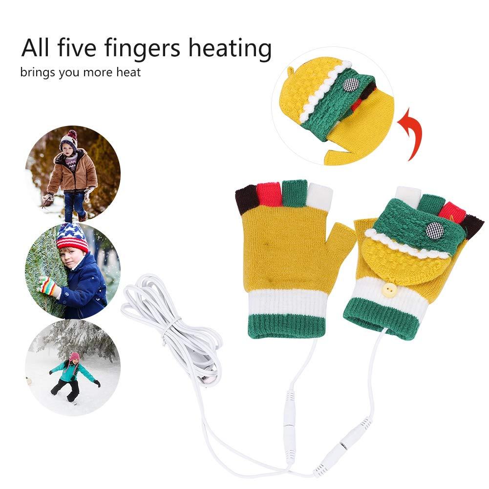 GS51 USB Fingerless Heating Cashmere Hands Warm Gloves Winter Windproof Outdoor Cycling Warm Heated Mittens Hands Warm Laptop Computer Gloves for Unisex Women Men Girls Boys