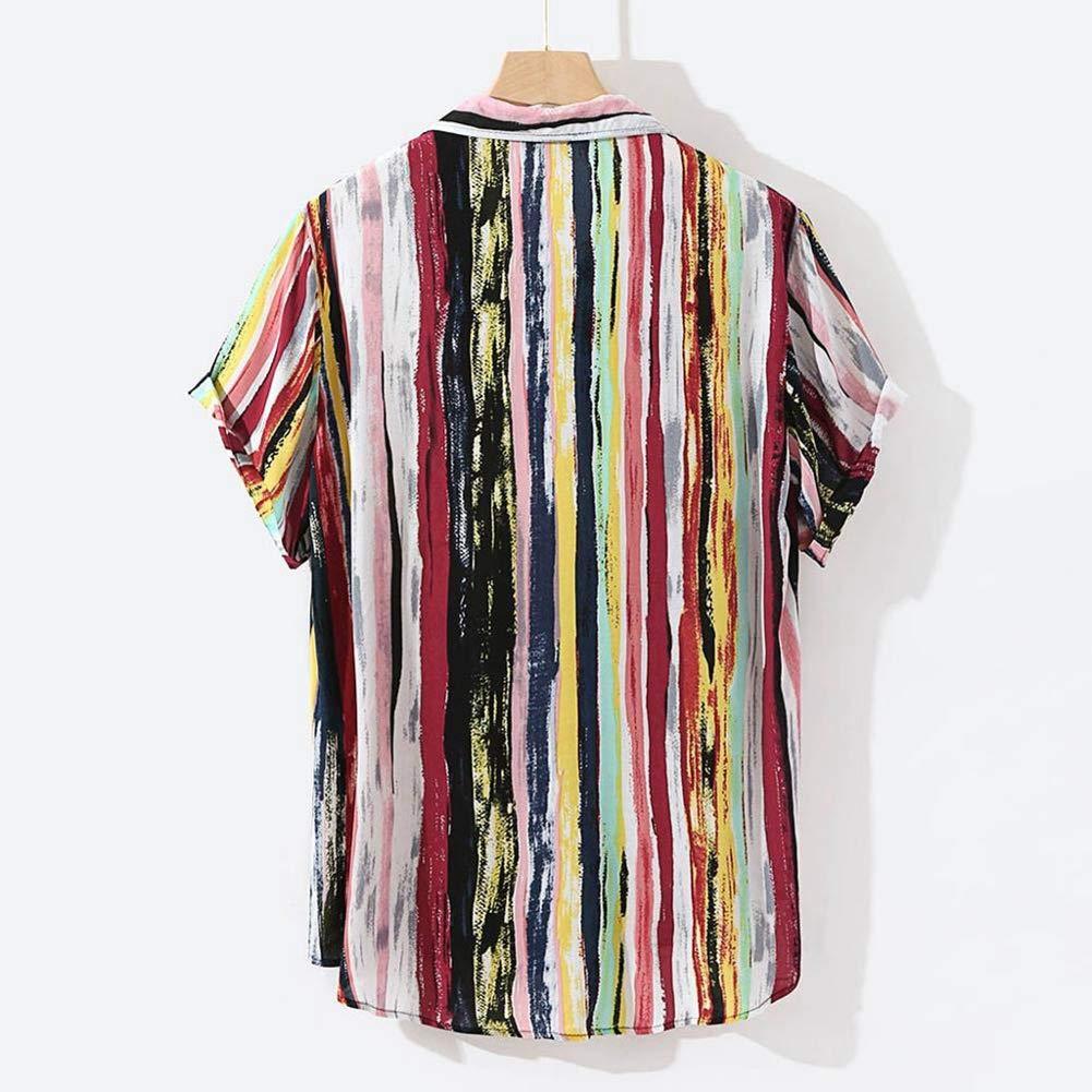 Multi,XXL Mens Hawaiian Printed Shirt Beach Quick Dry Turn-Down Collar Casual Shirts