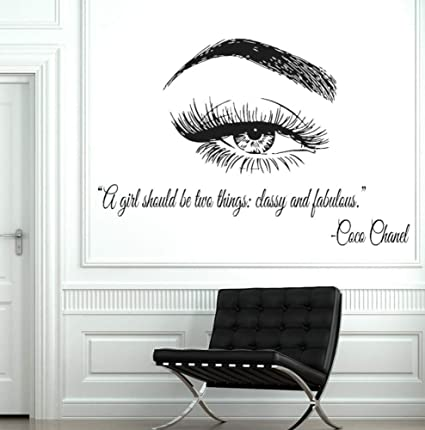 99fdfd4b371 Image Unavailable. Image not available for. Color: Dalxsh Vinyl Wall Window  Decal Eye Eyelashes Lashes Extensions Wall Sticker Eyebrows Brows Beauty  Salon ...