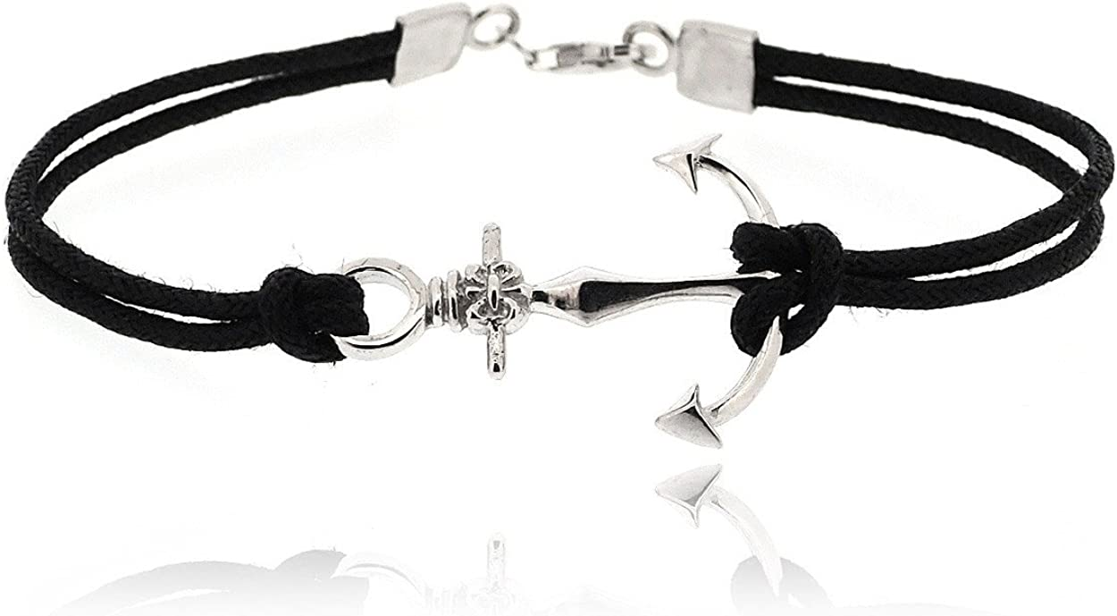 Simple Stylish /&Trendy Nickel Free Bracelet Sovats Anchor Nautical 925 Sterling Silver Rhodium Plated Charms with Black Cord Bracelet for Men