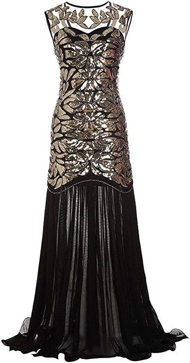 Styleea Robe Charleston Femme Annees 20 Vintage Sexy Col V Longue Robe Avec Brillant Paillette Perles Pour Femmes Classique 1920s Gatsby Tango Latine Longueur De Plancher Robe De Soiree Robe De Bal