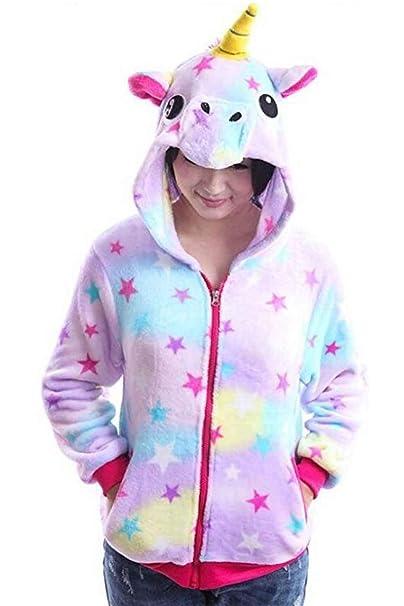Chaqueta con Capucha Mujer Moda Unicornio Estrellas Impresión Bonita Hoodies Fiesta Estilo Otoño Invierno Manga Larga con Cremallera Casual Elegantes ...
