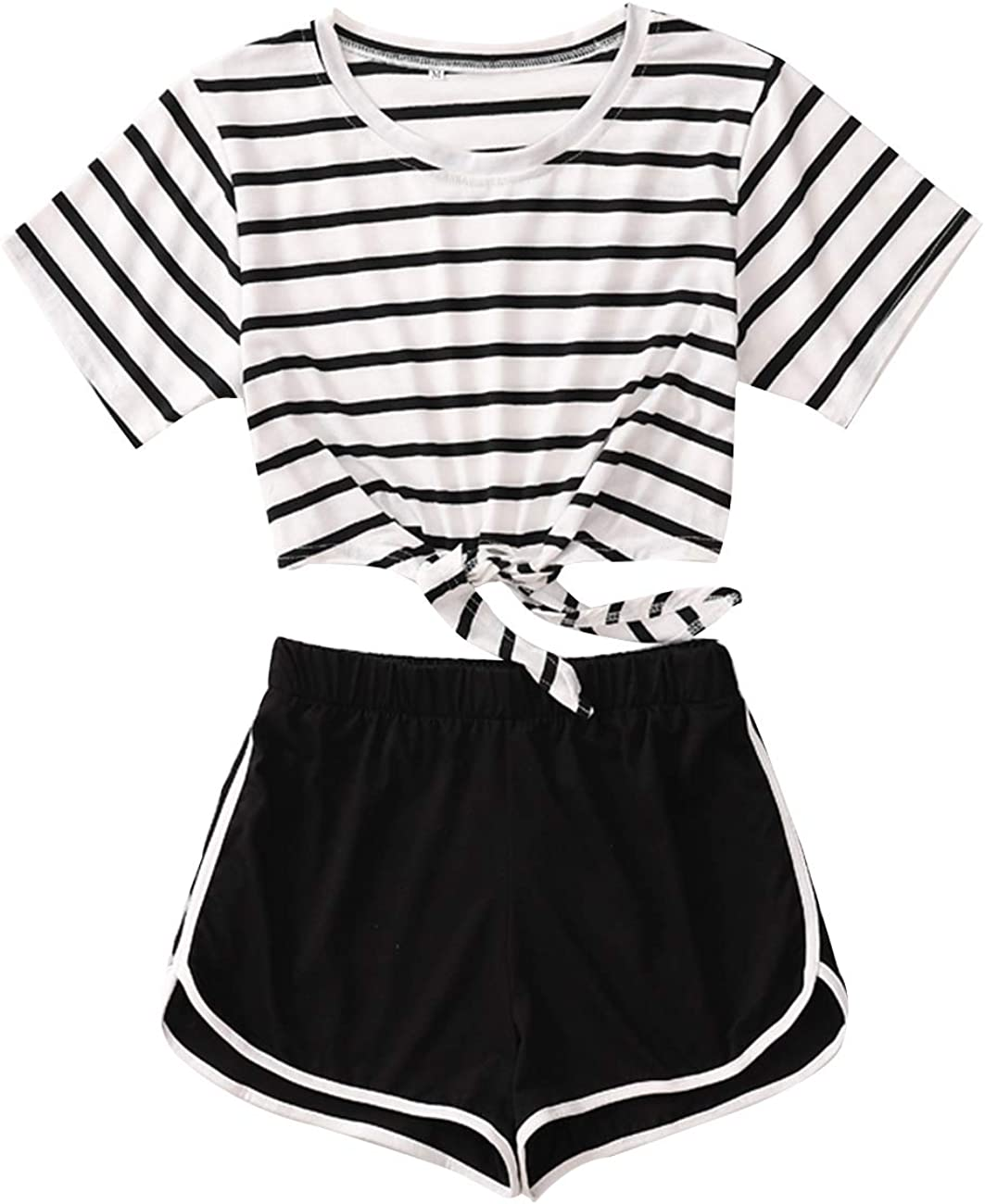 Women Striped Print Two Piece Set Tie up Crop Top and Shorts Outfit Tracksuit Cami Top with Shorts Teen Junior