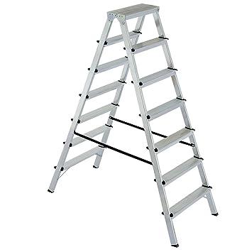 Alu Klappleiter Doppelleiter Bockleiter Malerleiter Leiter 2x7 Stufen,  Arbeitshöhe Bis 3515 Mm