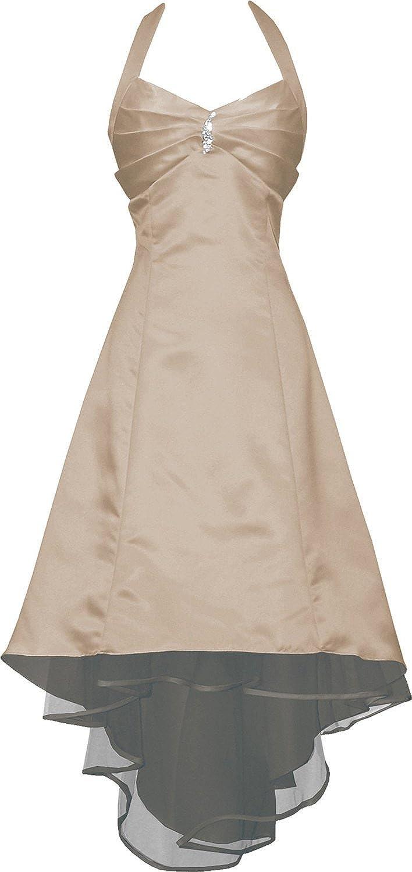 Medon's Women's Plus Size Satin Halter Bridesmaid Prom Dresses