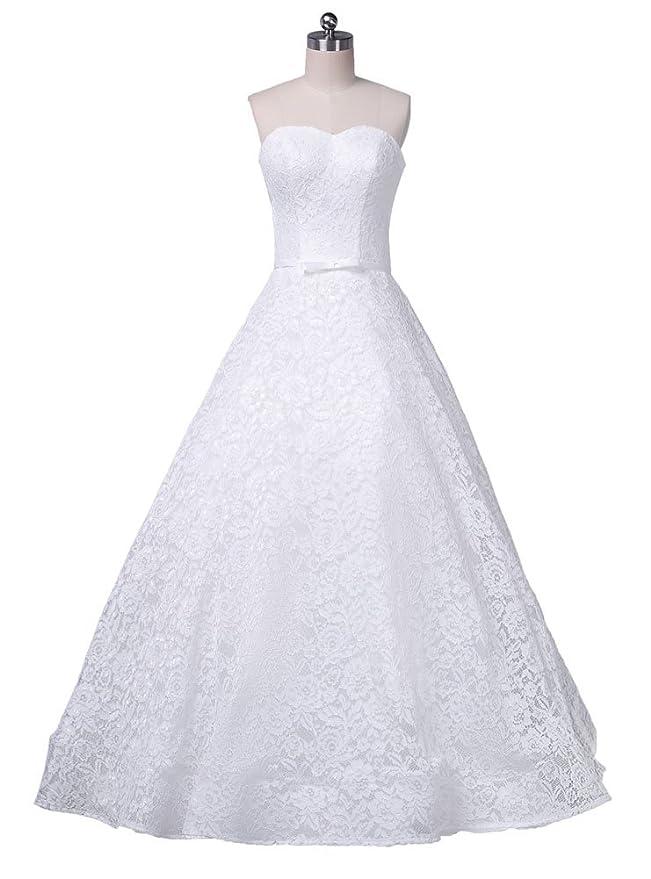Beauty-Emily Hochzeitskleider Für Damen Prinzessin Lang Spitze ...