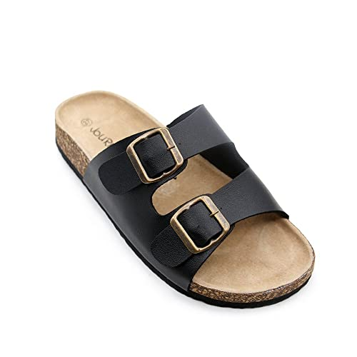 cb957d452 JOURNEI Double Buckle Flat Sandals Slippers for Women Men Slides Slip  Adjustable Design Black