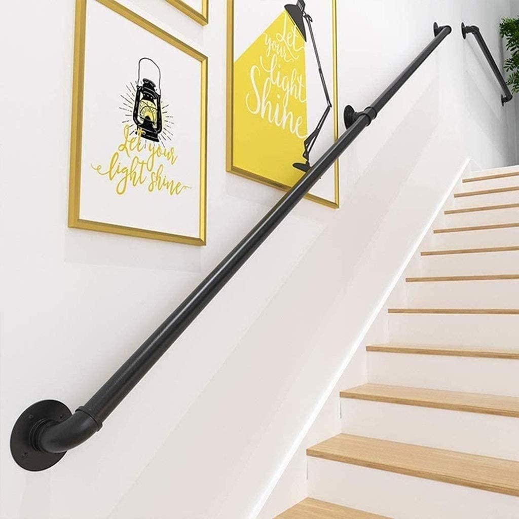M/étal Fer Forg/é Noir Kit Complet 350cm Main Courante pour Escalier Int/érieur Ext/érieur Mur Balustrade de Rampe de Pied Garde-Corps de Support Poign/ée Rambarde de S/écurit/é