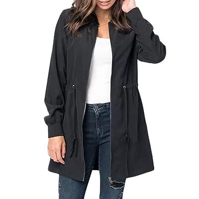 BLENCOT Womens Casual Lightweight Zip Up Suede Jackets Dust Coat Outerwear Windbreaker: Clothing